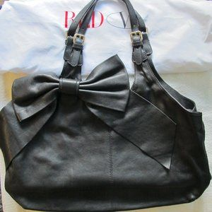 RED Valentino Black Calfskin Should Bag with Bow